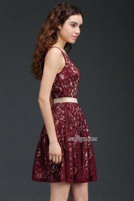 Lace Short V-Neck Sleeveless Burgundy A-Line Homecoming Dress UKes UK_2