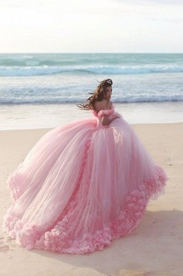 Fairy Pink Off-the-Shoulder Wedding Dress Tulle Ball Gown With Train LP047_3