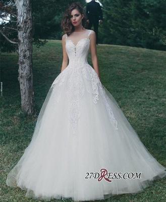 A-Line Tulle Sleeveless Appliques Elegant Wedding Dress_2