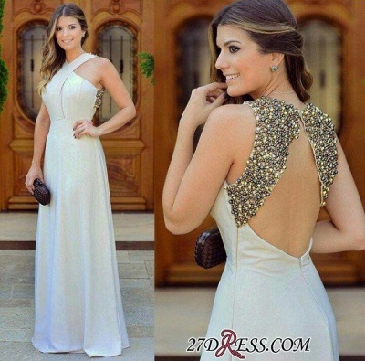 Long Chiffon Zipper Sleevless halter Beautiful Beadings Evening Dress UK_1