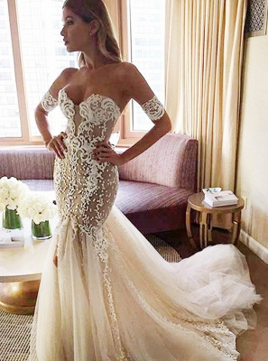 Strapless Sexy Mermaid Bride Dress Open Back Sweetheart Wedding Dress with Long Tulle Train_3