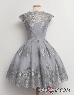Black Little Knee-Length Lace Capped-Sleeves Homecoming Dress UKes UK_1