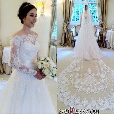 A-line Elegant Sweep-train Sashes Long-Sleeves Off-the-shoulder Wedding Dress_2