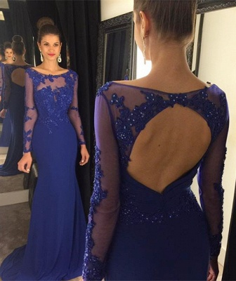 Sexy Lace Appliques Sequined Evening Dress UK Mermaid Long Sleeve AP0_1