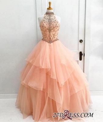 Neck Beading High Dress UKes UK Sexy Gown Sleeveless Ball Prom Evening Dress UKes UK_1