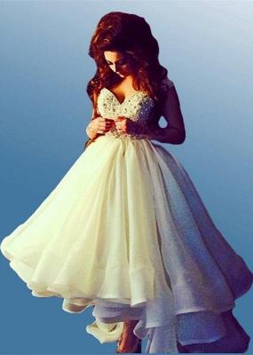 Elegant Off-the-shoulder Hi-Lo Princess Prom Dress UK Ruffles Crystals_1