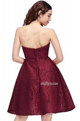 Short Simple Strapless Sleeveless Burgundy A-line Homecoming Dress UK_4
