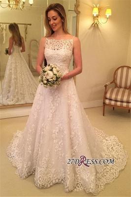 Lace Spaghetti-Straps Buttons Sweep-Train Sleeveless Wedding Dress_2