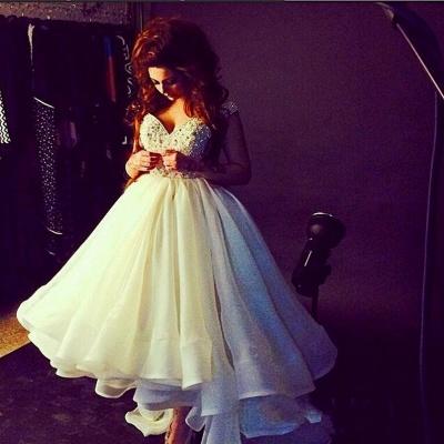 Elegant Off-the-shoulder Hi-Lo Princess Prom Dress UK Ruffles Crystals_2