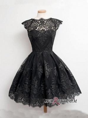 Black Little Knee-Length Lace Capped-Sleeves Homecoming Dress UKes UK_3