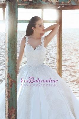 Appliques Straps Satin Ball Elegant Sleeveless Wedding Dress_2