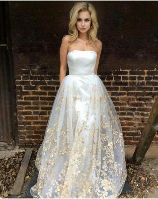 Gorgeous Strapless Prom Dress UK Long Tulle Lace Appliques On Sale_1