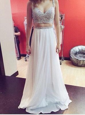 Elegant Sweetheart Sleeveless Beadings Long Chiffon Prom Dress UK With Spaghetti Strap And Crystals_1