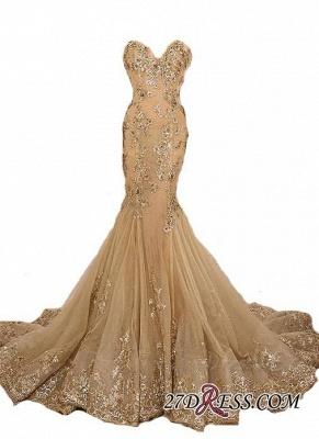 Lace-Up Sweetheart-Neck Lace-Appliques Gold Long Mermaid Prom Dress UKes UK BA5174_3