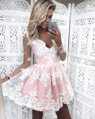 Long-Sleeves Lace Pink Short Deep-V-Neck Homecoming Dress UKes UK_1