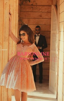 Lovely Long Lace Prom Dress UK Sleeves Little V-neck Short_1