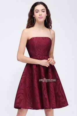 Short Simple Strapless Sleeveless Burgundy A-line Homecoming Dress UK_2