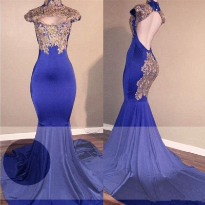 High-Neck Mermaid Prom Dress UK | Lace Appliques Evening Gowns BA9010_3