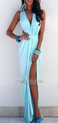 Elegant V-neck Sleeveless Long Prom Dress UK With Front Split_1