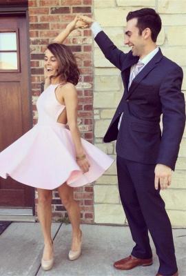 Modest Pink Jewel Mini Homecoming Dress UK Sleeveless Open Back_1
