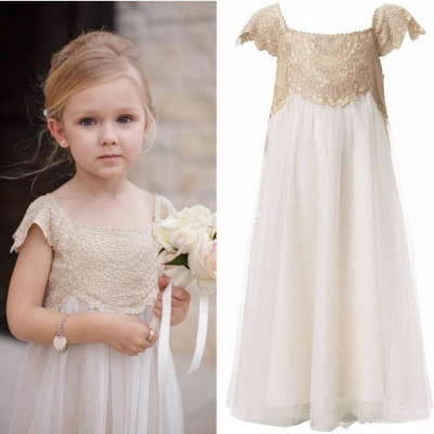 Newest Chiffon A-line Lace Appliques Flower Girl Dress Cap Sleeve_4