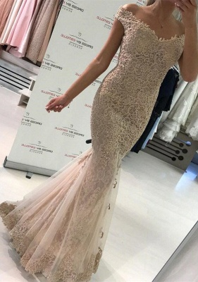 Gorgeous Off-the-Shoulder Evening Dress UK   Lace Mermaid Prom Dress UK_1