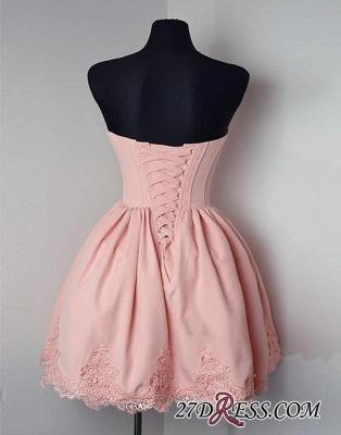 Cute Pink Sweetheart-neck Short Lace Homecoming Dress UK_3