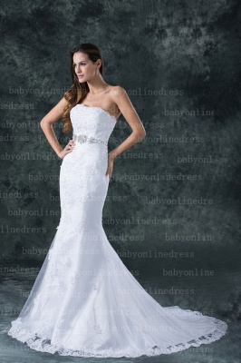 Lace White Beach Wedding Dresses UK Elegent Sexy Mermaid/trumpet Strapless Court Train Lace Beaded Up_3