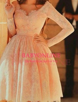 Lovely Long Lace Prom Dress UK Sleeves Little V-neck Short_2