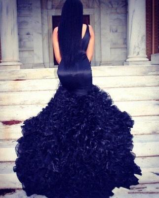 Elegant V-Neck Sleeveless Evening Dress UK Mermaid Organza_2