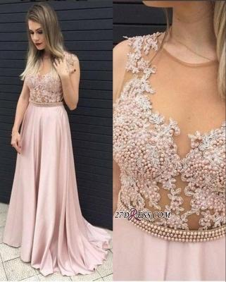 Long Pearls Pink A-line Top Sheer Sleeveless Prom Dress UKes UK_2