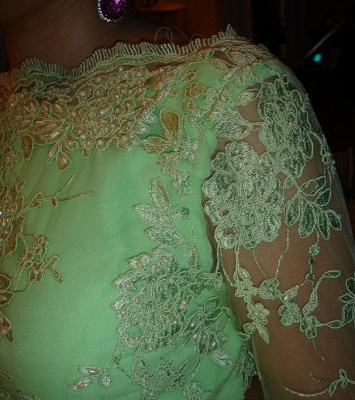 Lace Long Sleeve Open Back Dress UK New Arrival Luxury Gowns for Proms Appliques 3/4 Chiffon Evening_4
