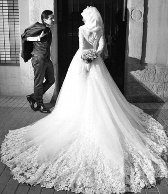 Chic White Tulle Lace Appliques Arabic Wedding Dress Lace-up Long Sleeve_4