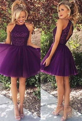 Sexy Purple Beadings High Neck Homecoming Dress UK Short_1