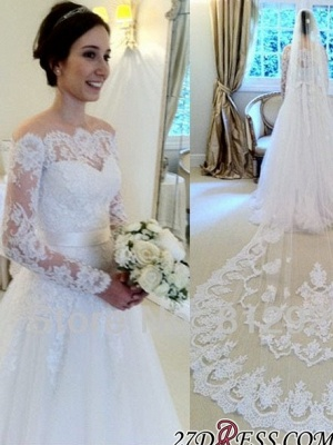 A-line Elegant Sweep-train Sashes Long-Sleeves Off-the-shoulder Wedding Dress_3
