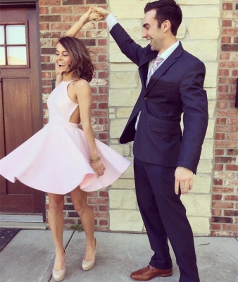 Modest Pink Jewel Mini Homecoming Dress UK Sleeveless Open Back_4