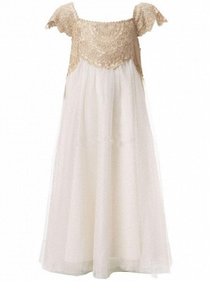Newest Chiffon A-line Lace Appliques Flower Girl Dress Cap Sleeve_3