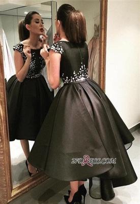 Crystal Black Zipper Sequined Tea-Length A-Line Prom Dress UKes UK_1