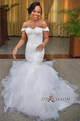 Short-Sleeve Sexy Mermaid Off-the-shoulder Tulle Lace-up Modest Lace Wedding Dress BA6808_4