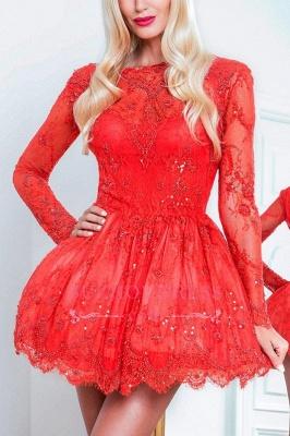 Red Short Long-Sleeve Sexy Lace Homecoming Dress UKes UK BA8057_1