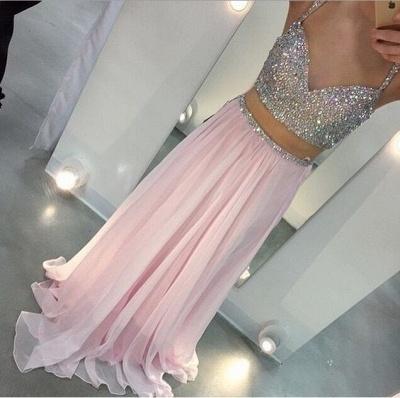 Elegant Sweetheart Sleeveless Beadings Long Chiffon Prom Dress UK With Spaghetti Strap And Crystals_2