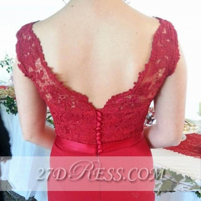 Red V-Neck Lace Bridesmaid Dress UKes UK Sweep Train Prom Gowns with Bottons_2