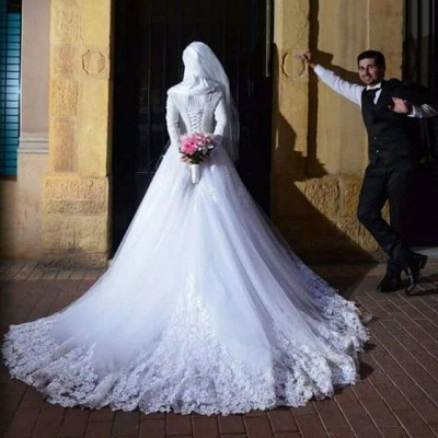 Chic White Tulle Lace Appliques Arabic Wedding Dress Lace-up Long Sleeve_1