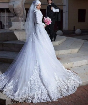 Chic White Tulle Lace Appliques Arabic Wedding Dress Lace-up Long Sleeve_5