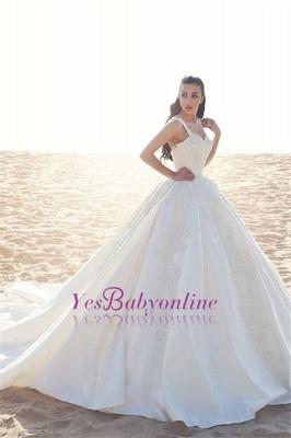 Appliques Straps Satin Ball Elegant Sleeveless Wedding Dress_3