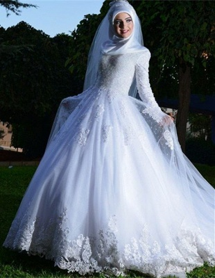 Chic White Tulle Lace Appliques Arabic Wedding Dress Lace-up Long Sleeve_6