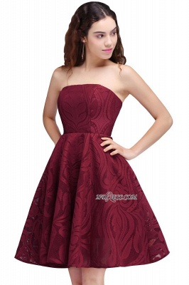 Short Simple Strapless Sleeveless Burgundy A-line Homecoming Dress UK_5