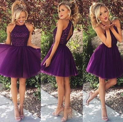 Sexy Purple Beadings High Neck Homecoming Dress UK Short_2