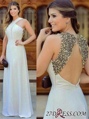 Long Chiffon Zipper Sleevless halter Beautiful Beadings Evening Dress UK_2