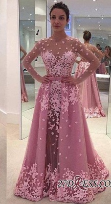 Pink Overskirt Long-Sleeves Sheer Lace-Appliques Prom Dress UKes UK_2
